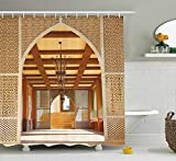 Ranche Arabian Decor Collection, Traditional Arabian Architecture in Doha Qatar Middle East Oriental Landmark Hotel Picture, Polyester Fabric Bathroom Shower Curtain Set with Hooks
