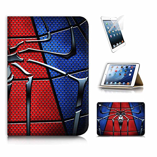 ( For iPad Mini 4 , Generation 4 ) Flip Wallet Case Cover & Screen Protector Bundle! A8110 Spiderman
