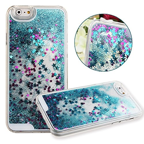 Apple iPhone 7+ Plus Waterfall Liquid Glitter and Stars Quicksand Moveable Water Tank Stars [Hard PC+ Liquid Inner] Impact Protection Hybrid Heavy Duty Shockproof by Tech Express - (Sky Blue)