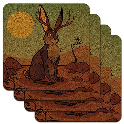 Cartoon Jackalope Low Profile Novelty Cork Coaster for sale  Delivered anywhere in USA
