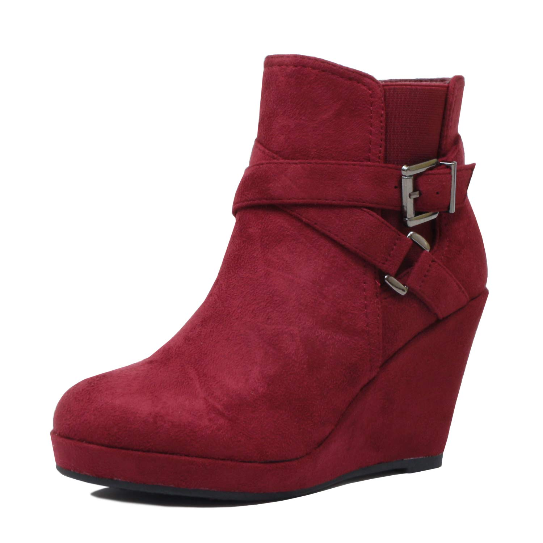 Guilty Heart Womens High Heel Platform Buckle Zipper Wedge Ankle Bootie Boot