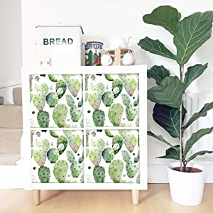 Cactus Self-Adhesive Stickers,Peel and Stick Furniture Stickers/Decals,Waterproof Cabinet Stickers Furniture Renovation Stickers Dresser Sticker,Removable Furniture Skin
