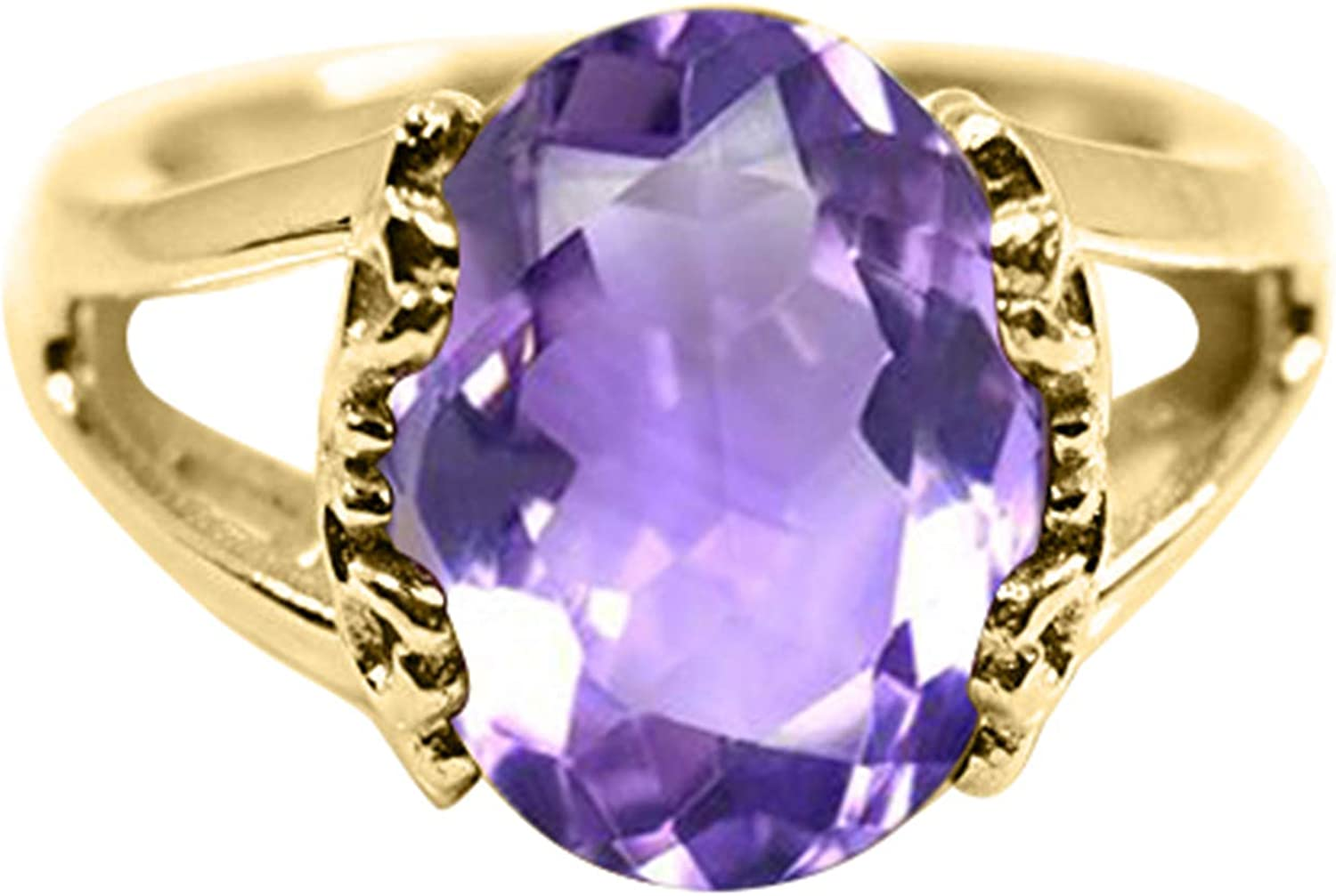 Gemsonclick Natural Handmade Feburary Birthstone Amethyst 925 Sterling Silver Ring for Women Sizes 4-13