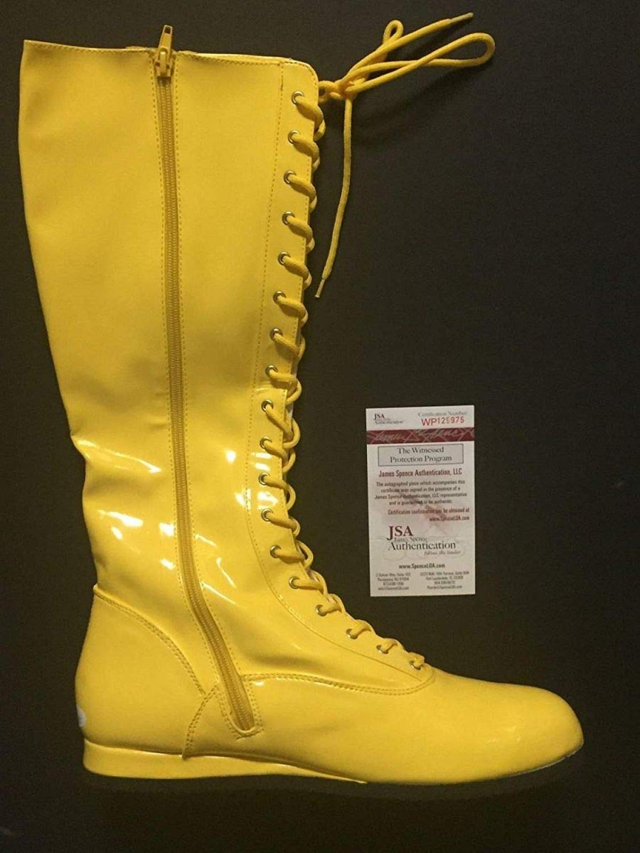 Autographed/Signed Hulk Hogan Yellow WWE Wrestling Boot/Shoe JSA COA