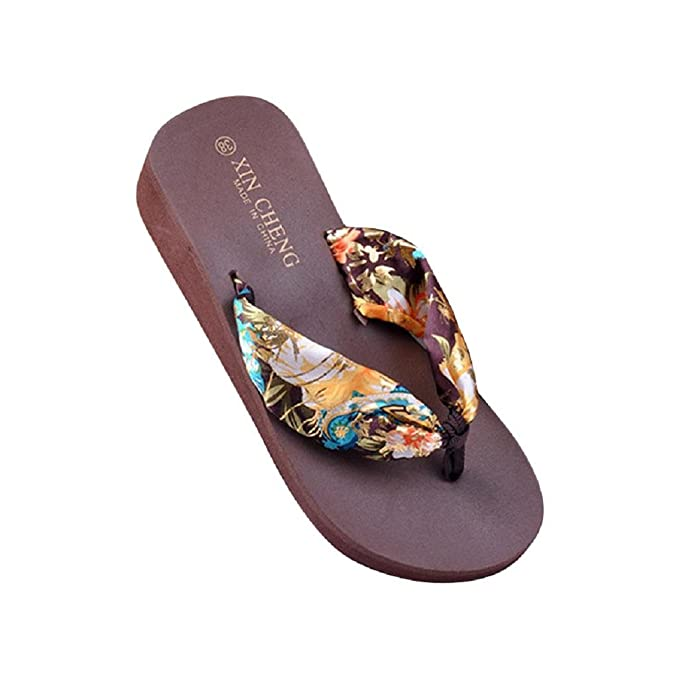 Xinan Damen Sommer Schuhe, Böhmen Floral-Strand-Sandelholz-Keil-Plattform Thongs Slippers Flip Flops (38, Schwarz)