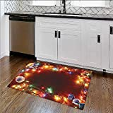 Rug Easy to Clean, Durable Santa In Sleigh Holy Night With Full Mo Snowy Winter Theme Rug for Kitchens W34''xH21''