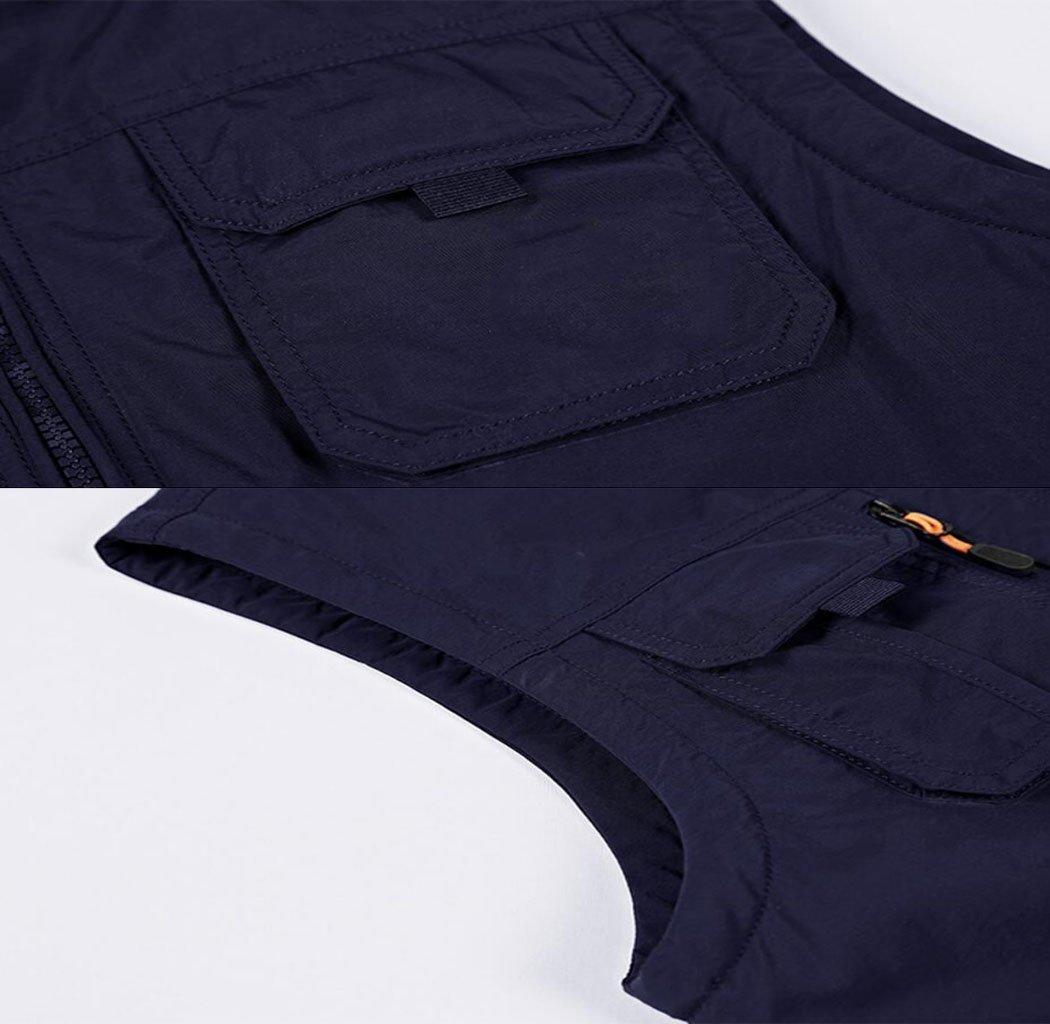 JBHURF Chaleco al al al Aire Libre, Chaqueta sin Mangas Multibolsillos, más Chaleco Grueso, Ropa de montañismo de Gran tamaño Informal, 8 Bolsillos de Color Caqui (Color : Azul, Tamaño : L) 039bf2