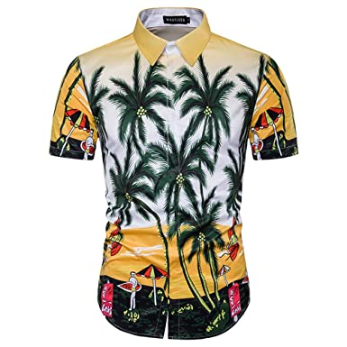 90772bcf Mens Button Down Shirts Tall 80s Christmas Party Aloha Beach Hawaiian Shirt  (Yellow, Small