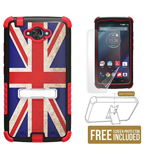 Droid Turbo case, Beyond CellTM Tri Shield® Phone Armor Case With Built-in Metal Kickstand, Non Slip & Slim Case for Motorola Droid Turbo and Ballistic Nylon (1 Year Warranty) - British Flag - Black/Red - FREE HD Screen Protector & Retail Packaging