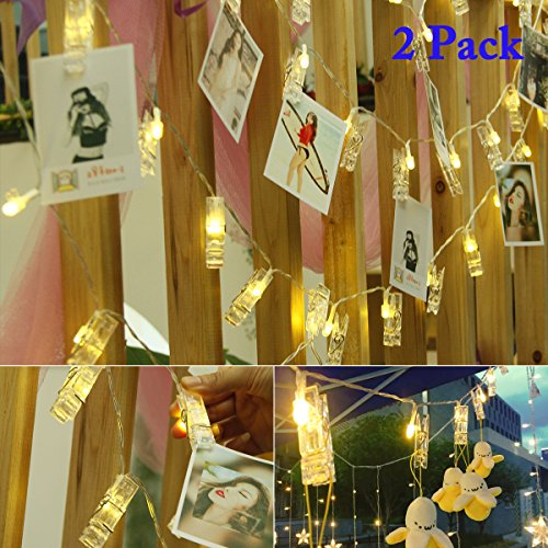 Vmanoo String Lights Battery Powered, 30 LED 12 Feet Photo Clips Lighting Ideal for Hanging Picture Cards and Memos, Home Bedroom Wedding, Xmas Party Decoration, Valentines Gift, 2PACK (Warm White) (Xmas Photos Tree)