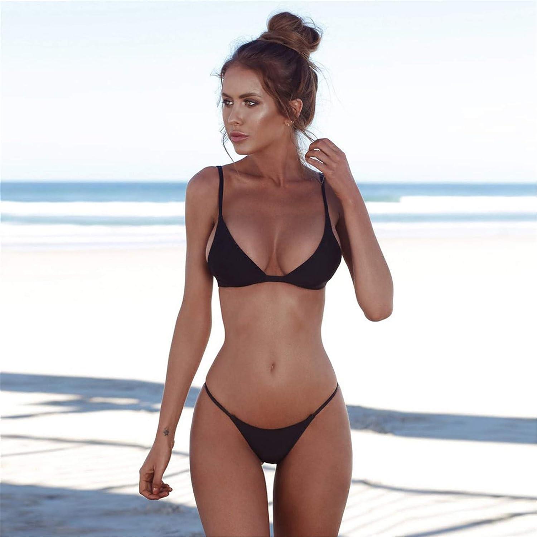 Xiarookp Womens Solid Color Scoop Neck Bikini Push up Padded Brazilian Thong Bikini Swimsuit
