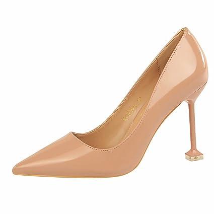 c09704afc1182 Amazon.com : GTVERNH Women's shoe/Fashion Fine With Lacquer Shallow ...