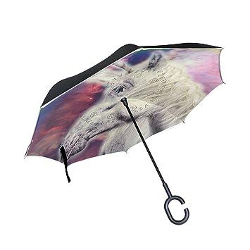 BENNIGIRY Paraguas Plegable, Diseño de Arcoíris Galaxy Unicornio en el Interior, Doble Capa Grande