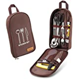 Delicacy 10 PCs Camping Kitchen Utensil Set, Camp Cookware Utensils Organizer Travel Kit with Water Resistant Case, Cutting Board, Rice Paddle, Tongs, Scissors,Ladle,Spatula, Knife, Bottle Opener