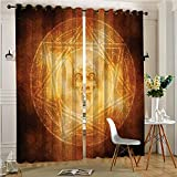 Analisahome Thermal Insulated Blackout Panel Curtain Demon Trap Symbol Logo Ceremony Creepy Ritual Paranormal Design for Bedroom/Living Room (2 Panels, 84'' x 84'')