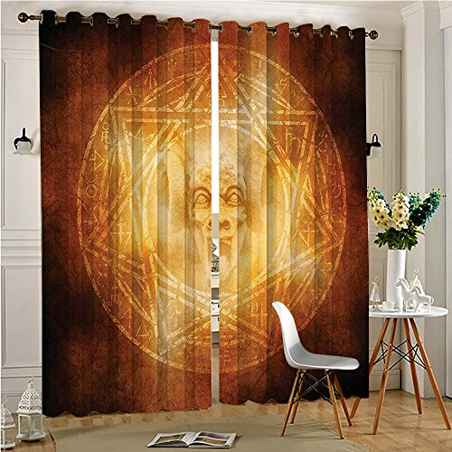 Analisahome Thermal Insulated Blackout Panel Curtain Demon Trap Symbol Logo Ceremony Creepy Ritual Paranormal Design for Bedroom/Living Room (2 Panels, 84'' x 84'') by Analisahome