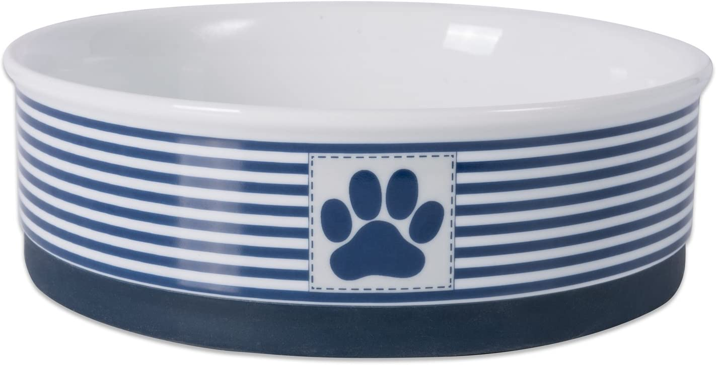 Bone Dry Paw Patch & Stripes Ceramic Pet Bowl & Canister Collection, Large Bowl - 7.5 x 7.5 x 2.4