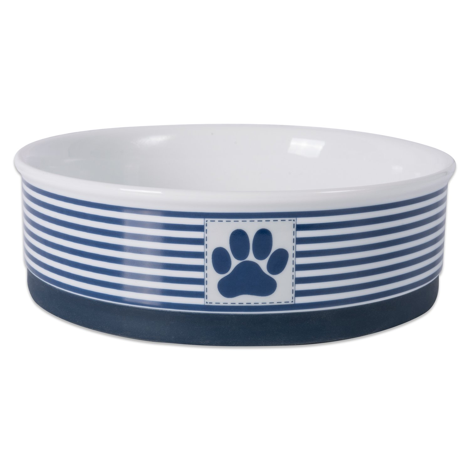 DII Bone Dry Paw Patch & Stripes Ceramic Pet Bowl for Food & Water with Non-Skid Silicone Rim for Dogs and Cats (Large 7.5  Dia x 4 H) Nautical bluee