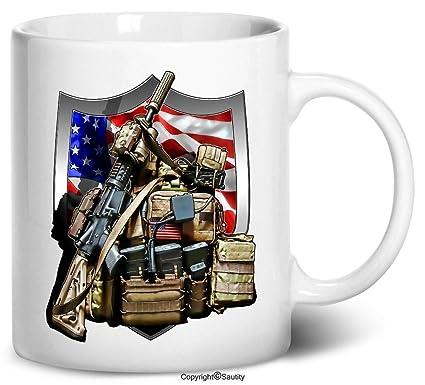 Amazon com: Tenacitee Military Pack & Weapons Coffee Mug