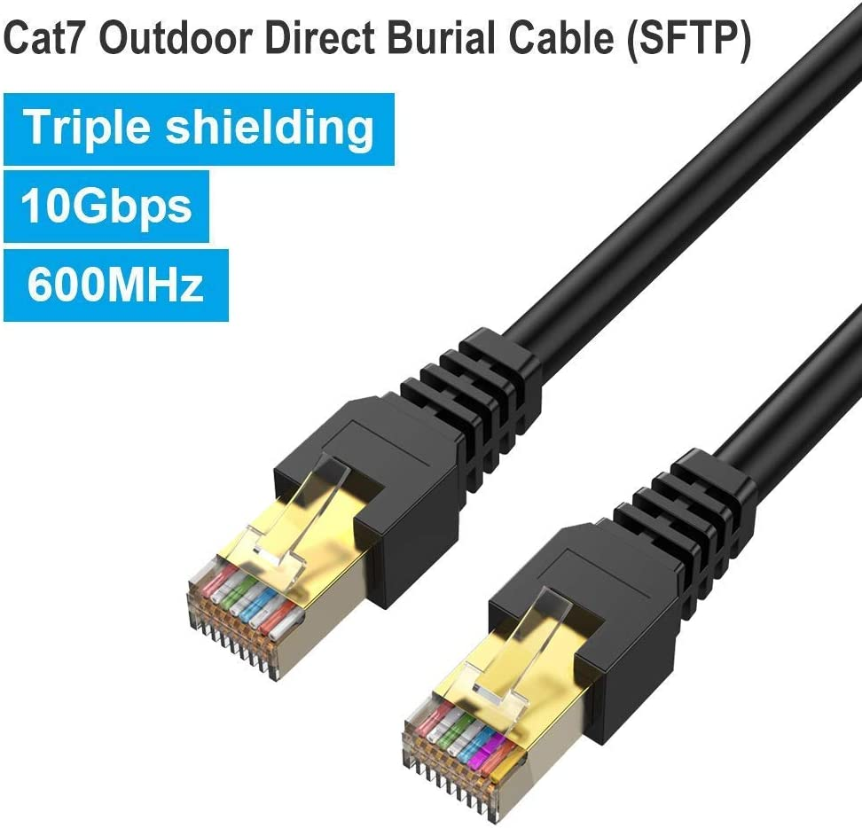 26AWG Heavy-Duty Cat7 Networking Cord Patch Cable RJ45 Transmission Speed 10GbpsTransmission Bandwidth 600Mhz LAN Wire Cable STP Waterproof Direct Burial 250FT Outdoor Cat7 Ethernet Cable 250ft