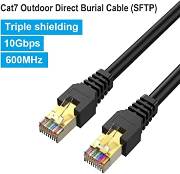 300ft CAT-6 SHIELDED Outdoor Indoor Ethernet Cable UV Direct bury RJ45 Cable
