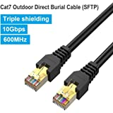 Phizli Outdoor Ethernet Cable 25ft Exterior Cat7 Black, Shielded Grounded UV Resistant Waterproof Buried-able Network…