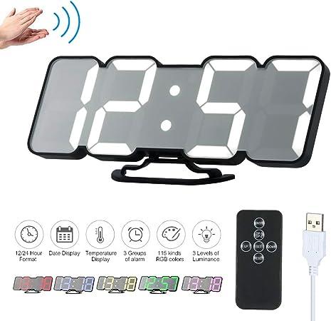 Decdeal Horloge Murale LED 3D Réveil Numérique Électronique