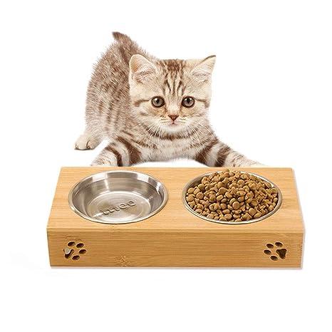 LA VIE Comedero para Mascotas Perros Pequeños Gatos con 2 Cuencos Extraíbles y Bandeja de Bambú