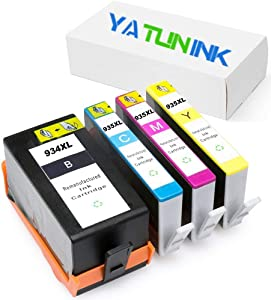 YATUNINK Remanufactured Ink Cartridge Replacement for HP 934XL 935XL Ink Cartridges Fit Officejet Pro 6230 Officejet 6830 Officejet 6835 Officejet 6812 Showing Ink Level (1BK/1C/1M/1Y)