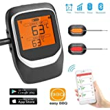Sendowtek Barbecue Thermometer Wireless Remote Control From 196 Feet Away Preset Temperature and Timer Meat Thermometer with Dual Probes Magnetic Attraction Use for Oven/Grill/BBQ/Kitchen