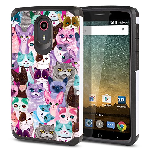 FINCIBO Case Compatible with ZTE N817 Quest Uhura, Dual Layer Hard Back Hybrid Protector Case Cover Anti Shock TPU for Quest Uhura - Cat Family