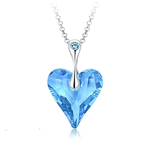 Yellow Chimes Crystals from Swarovski Big Blue Ocean Heart Long Chain Pendant for Women and Girls Women's Chains & Necklaces at amazon