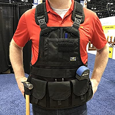Atlas 46 JourneyMESH Chest Rig with Cargo Pockets v2 Black | Work, Utility, Construction, Contractor, and Tactical