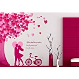 Decals Design 'Romantic Couple Under the Heart Leaves Tree and Love Quote with Bicycle' Wall Sticker (PVC Vinyl, 90 cm x 60 cm)