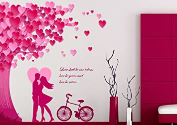 Buy Decals Design Romantic Couple Under the Heart Leaves Tree and