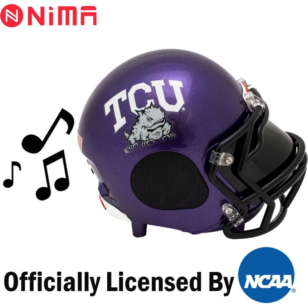 NCAA アメリカンフットボール Bluetooth対応ワイヤレススピーカー NCAA 大学アメリカンフットボール公式ライセンスヘルメット型ポータブルスピーカー。B07845JWK5Large|TCU Horned FrogsTCU Horned FrogsLarge