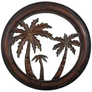 """Collectible Badges Decorative 16"""" Metal Palm Tree Wall Plaque"""