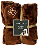 Laura Ashley Reversible Micro Fur Pet Dog Bed Blanket Throw Chocolate Brown