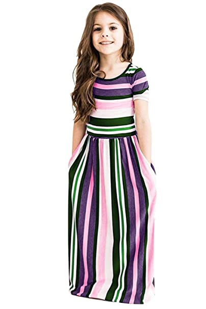 63adb87f3224 Amazon.com: storeofbaby Little Girls Casual Maxi Dress with Pockets Stripes  for Holiday: Clothing