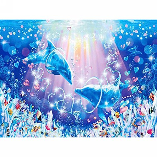 - LICSE DIY 5D Diamond Painting By Number Kits Dolphin Cross Stitch DIY Craft Butterfly Decor 12X16 inches