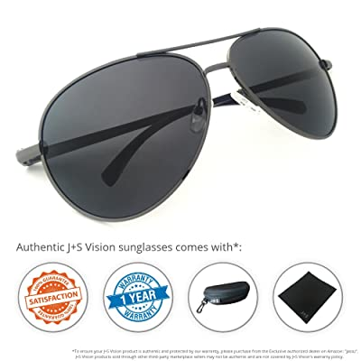 J+S Premium Ultra Sleek, Military Style, Sports Aviator Sunglasses, Polarized, 100% UV protection (Large Frame - Ash Grey Frame/Black Lens)