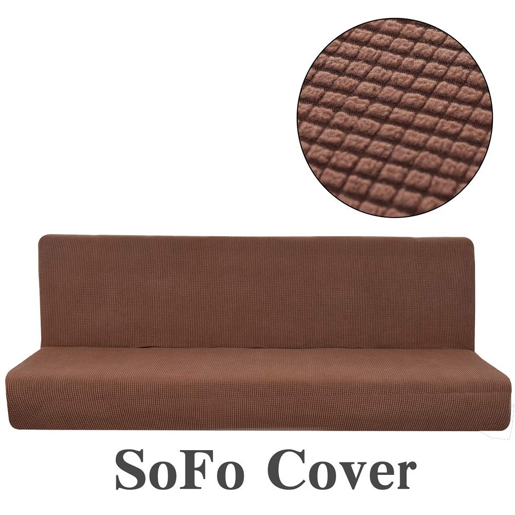 AFAHXX Sofa Bed Cover futon slipcover Solid Color Full Folding Elastic armless-E 59-75in by AFAHXX