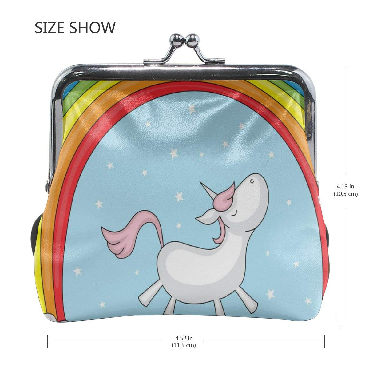 Poream Fantasy Animal Horse Unicorn Rainbow Cloud Personalized Retro Leather Cute Classic Floral Coin Purse Clutch Pouch Wallet For Girls And Womens
