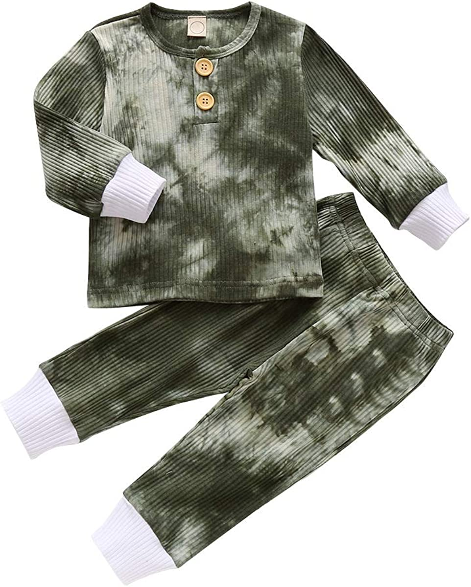 Toddler Baby Boy Girl Pajamas Set Tie Dye Long Sleeve T-Shirt Tops Pants Outfit 2 Piece Pjs Sleepwear Nightwear Clothes Set