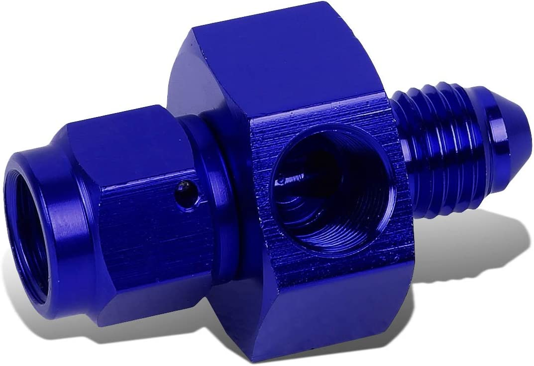 4AN AN4 AN-4 Flare Male-Female 1//8 inches NPT Port Aluminum Finish Fitting Adapter Blue