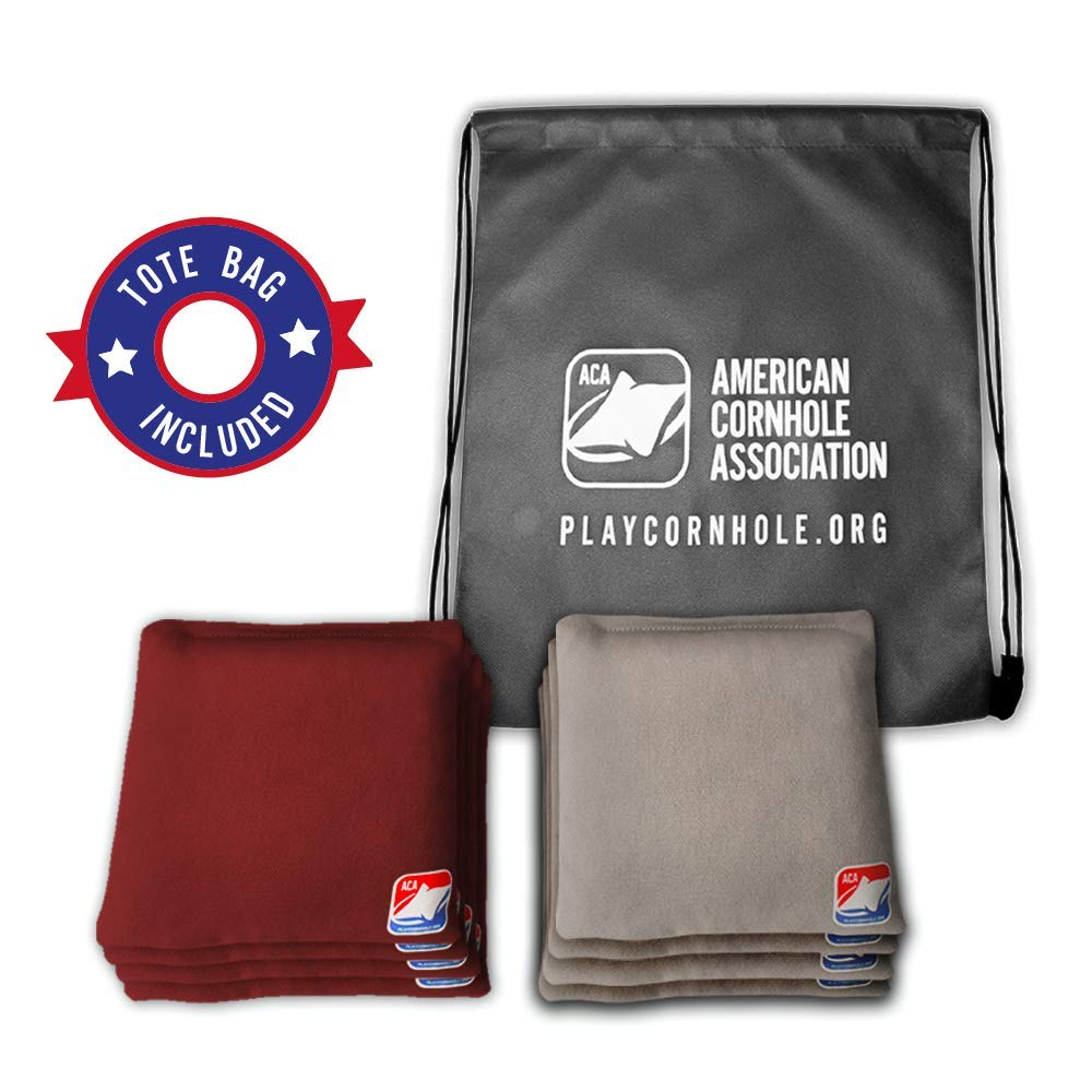 Official Cornhole Bags from The American Cornhole Association - 6'' Double-Stitched Corn-Filled Bean Bags for Corn Hole Outdoor Game - Regulation Size - Burgundy & Gray