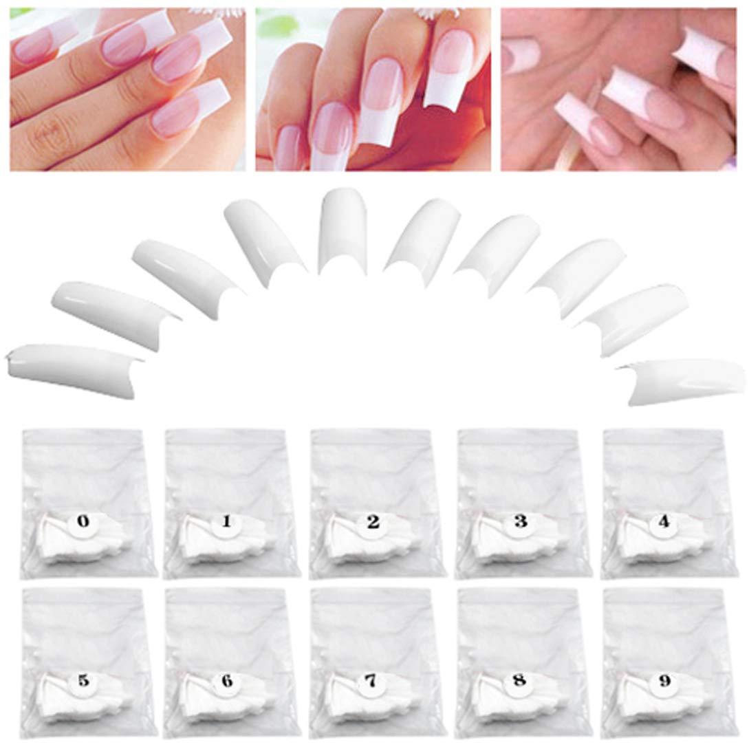 TRIXES 500 Puntas Blancas Postizas en Acrílico para Manicura Francesa - Gel de Maquillaje: Amazon.es: Hogar