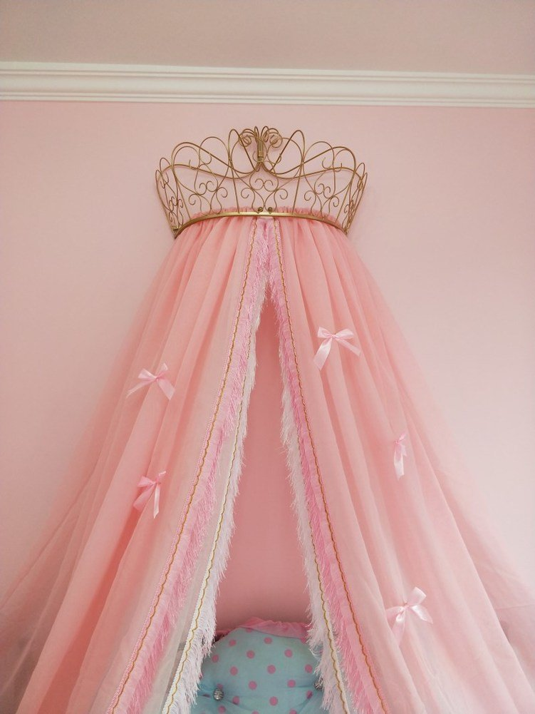 KQCNIFVNKLM Fringe mosquito net, Princess beding double european butterfly imitation linen bedding crown mosquito netting-pink