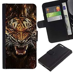 KLONGSHOP // Tirón de la caja Cartera de cuero con ranuras para tarjetas - Fierce Agresivo Ataque Tigre - Apple Iphone 6 PLUS 5.5 //