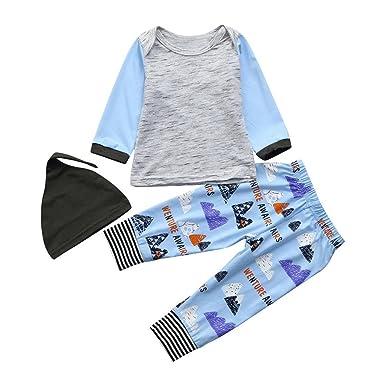 POLP Niña Conjuntos◕‿◕Unisex Bebé Niños Niñas Manga Larga Sudaderas y  Vaquero Impresión Pantalones y Hat 865673e0b12f2